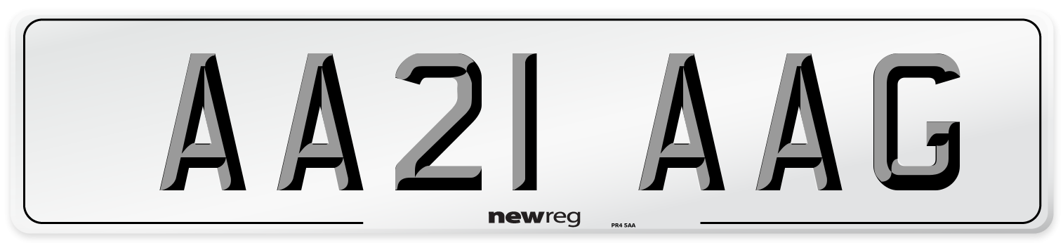AA21 AAG Number Plate from New Reg