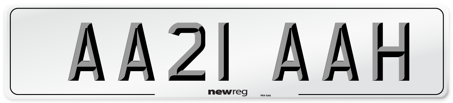 AA21 AAH Number Plate from New Reg