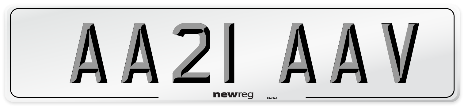 AA21 AAV Number Plate from New Reg
