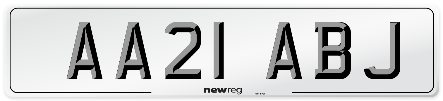 AA21 ABJ Number Plate from New Reg
