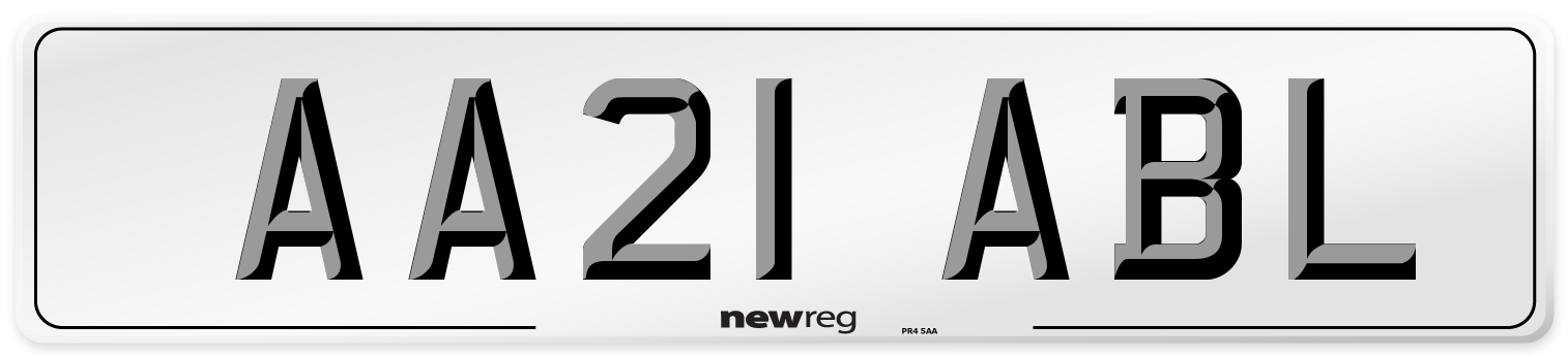 AA21 ABL Number Plate from New Reg