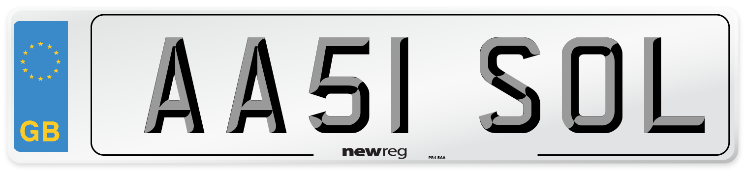 AA51 SOL Number Plate from New Reg