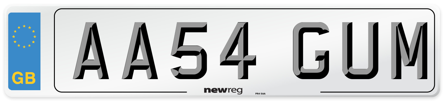 AA54 GUM Number Plate from New Reg