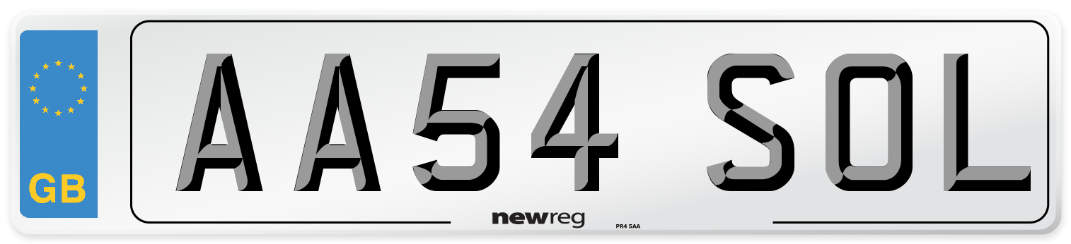 AA54 SOL Number Plate from New Reg