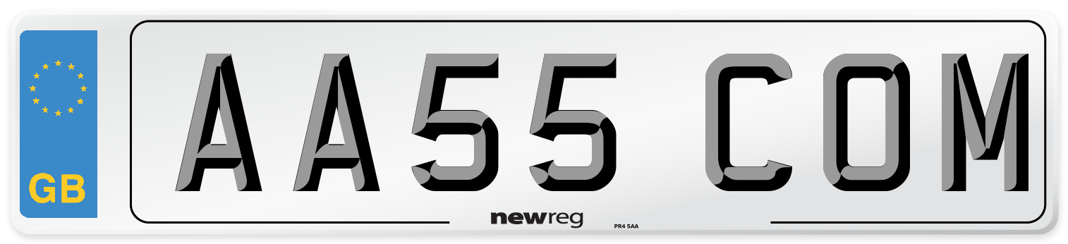 AA55 COM Number Plate from New Reg