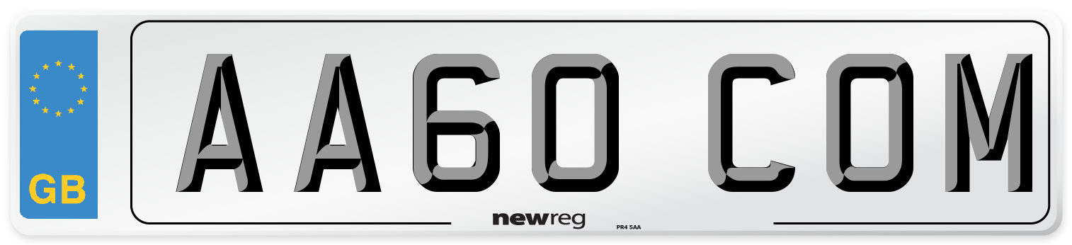 AA60 COM Number Plate from New Reg