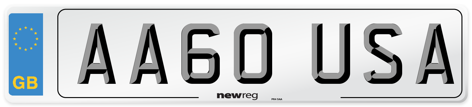 AA60 USA Number Plate from New Reg