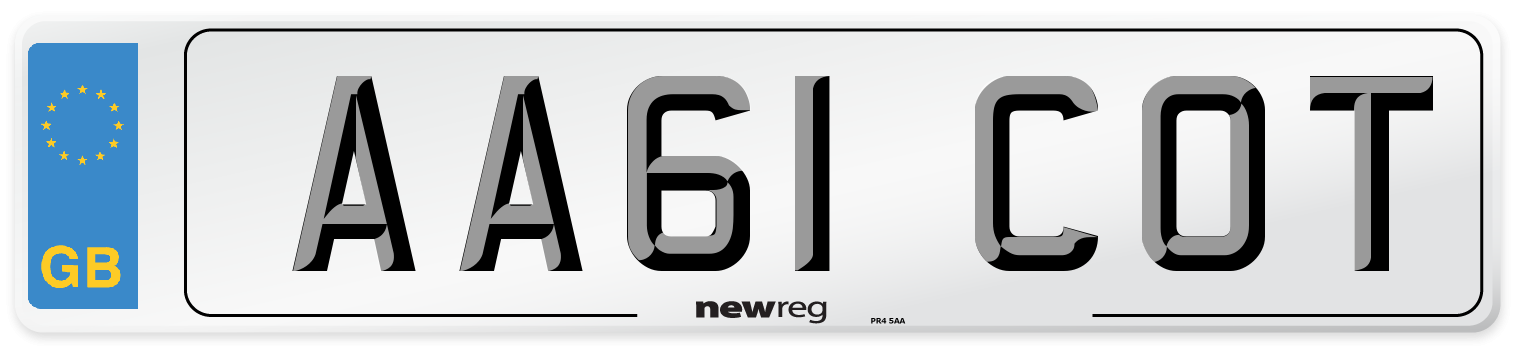 AA61 COT Number Plate from New Reg
