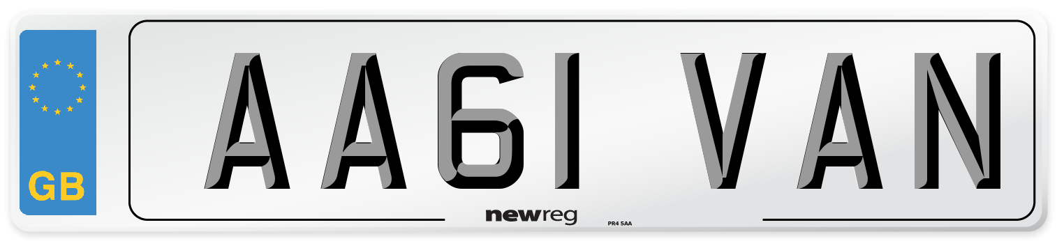 AA61 VAN Number Plate from New Reg