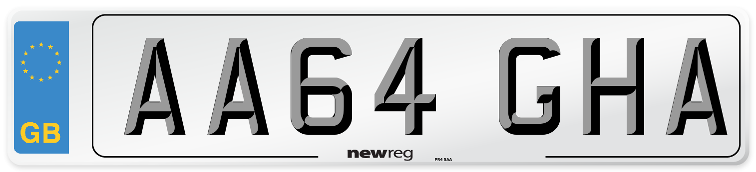 AA64 GHA Number Plate from New Reg