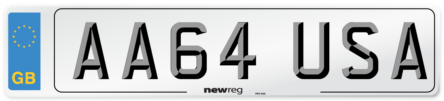 AA64 USA Number Plate from New Reg