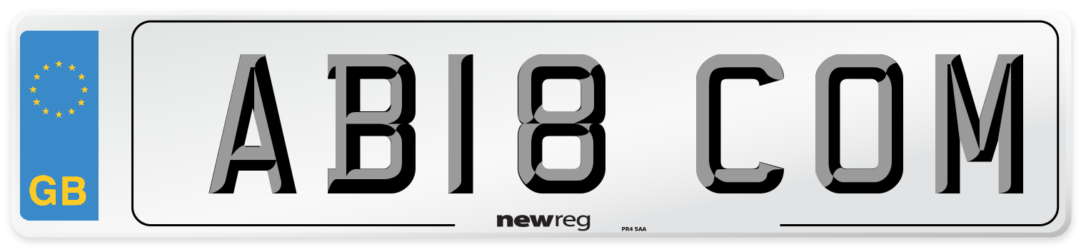 AB18 COM Number Plate from New Reg