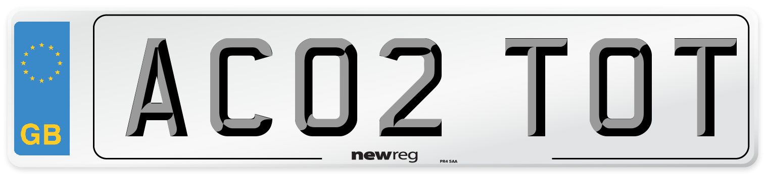 AC02 TOT Number Plate from New Reg