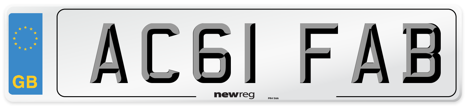 AC61 FAB Number Plate from New Reg