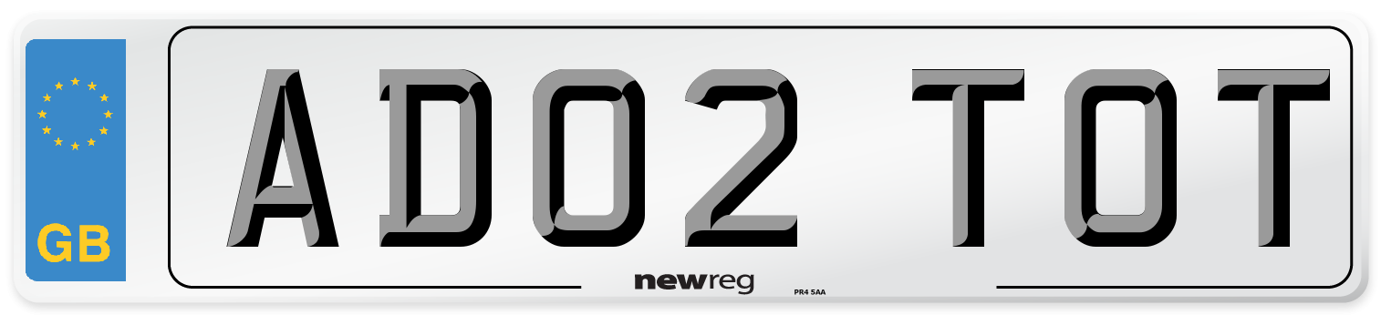 AD02 TOT Number Plate from New Reg