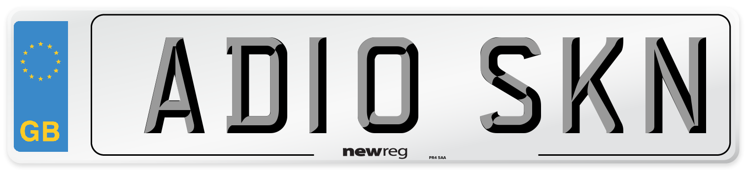 AD10 SKN Number Plate from New Reg