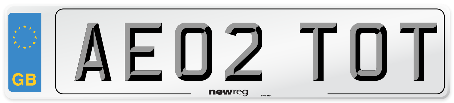 AE02 TOT Number Plate from New Reg
