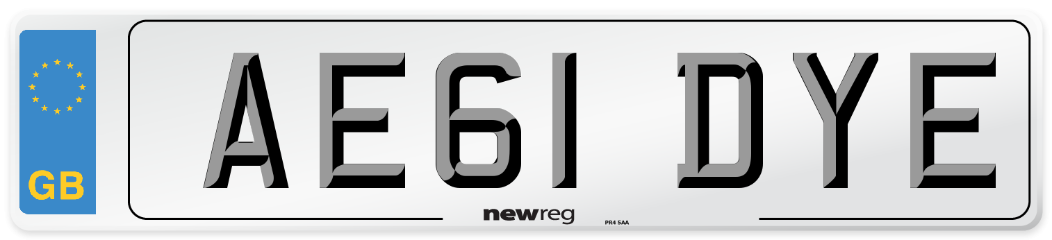 AE61 DYE Number Plate from New Reg