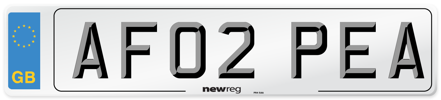 AF02 PEA Number Plate from New Reg