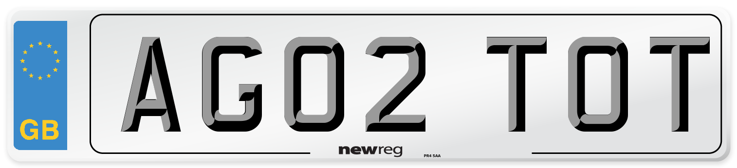 AG02 TOT Number Plate from New Reg