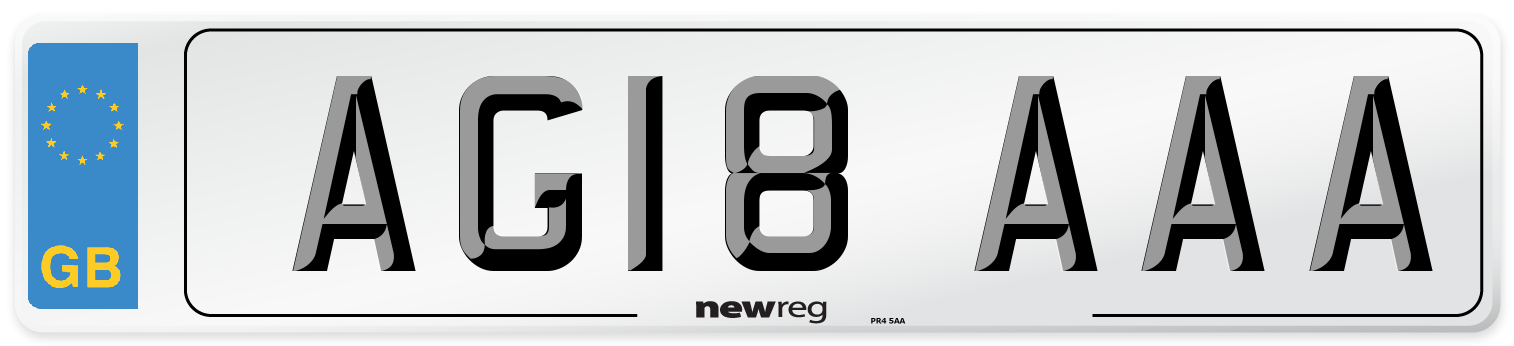 AG18 AAA Number Plate from New Reg