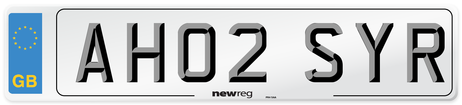 AH02 SYR Number Plate from New Reg