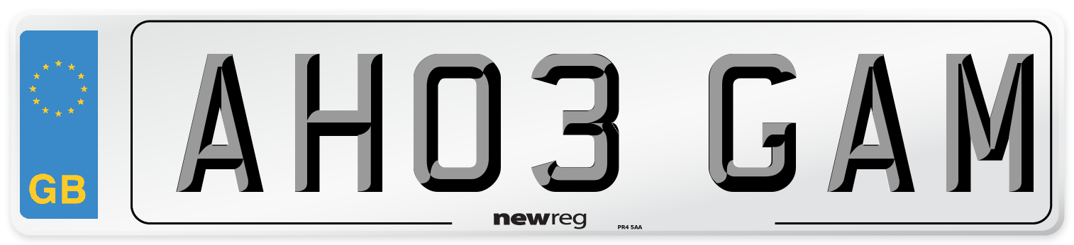 AH03 GAM Number Plate from New Reg