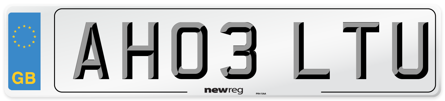 AH03 LTU Number Plate from New Reg