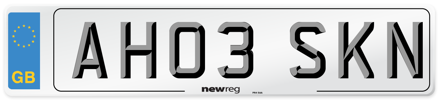 AH03 SKN Number Plate from New Reg