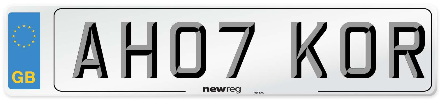 AH07 KOR Number Plate from New Reg