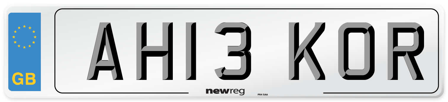AH13 KOR Number Plate from New Reg