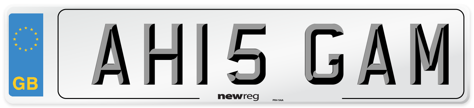 AH15 GAM Number Plate from New Reg