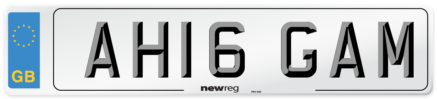 AH16 GAM Number Plate from New Reg