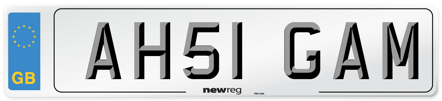 AH51 GAM Number Plate from New Reg
