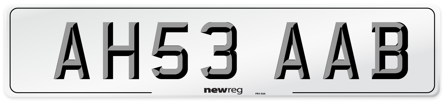 AH53 AAB Number Plate from New Reg