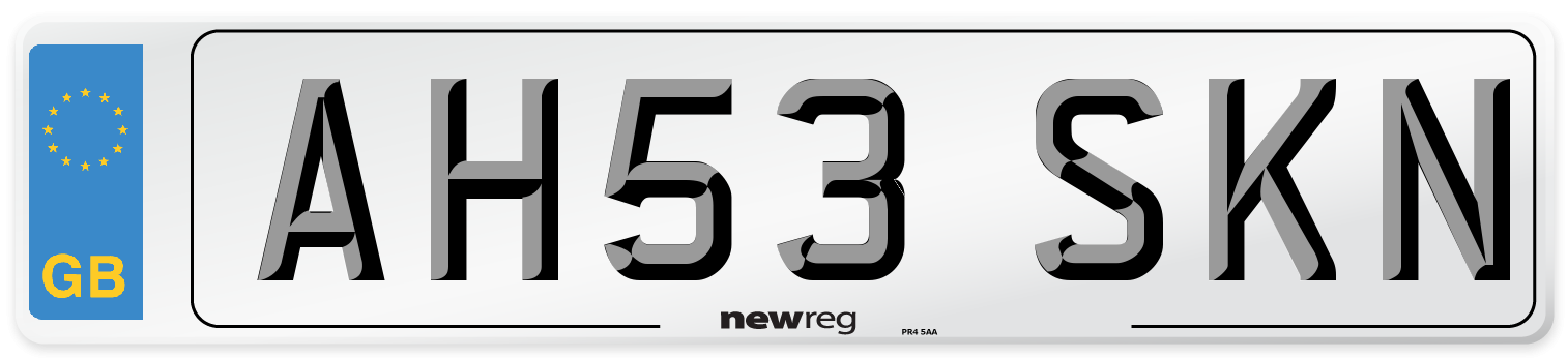 AH53 SKN Number Plate from New Reg