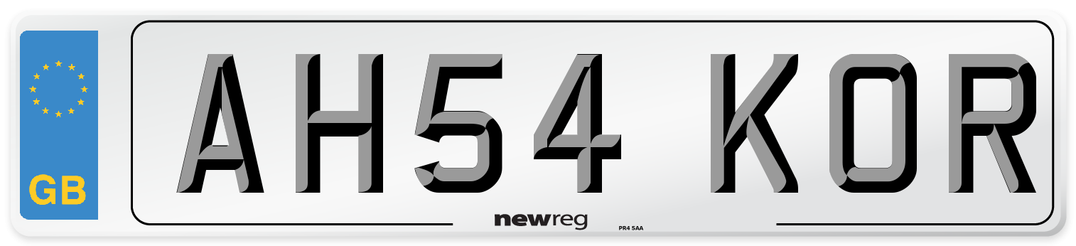 AH54 KOR Number Plate from New Reg