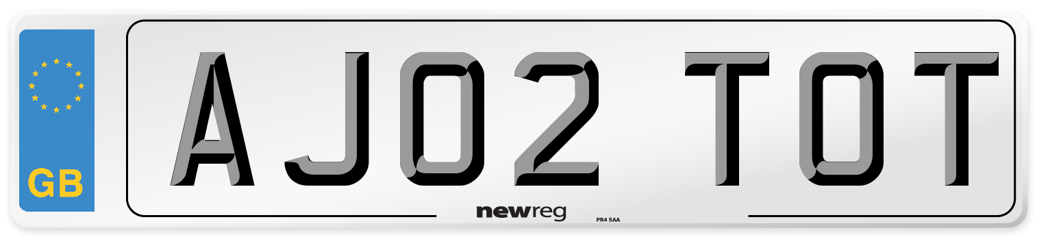AJ02 TOT Number Plate from New Reg