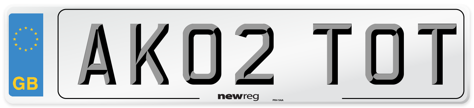 AK02 TOT Number Plate from New Reg