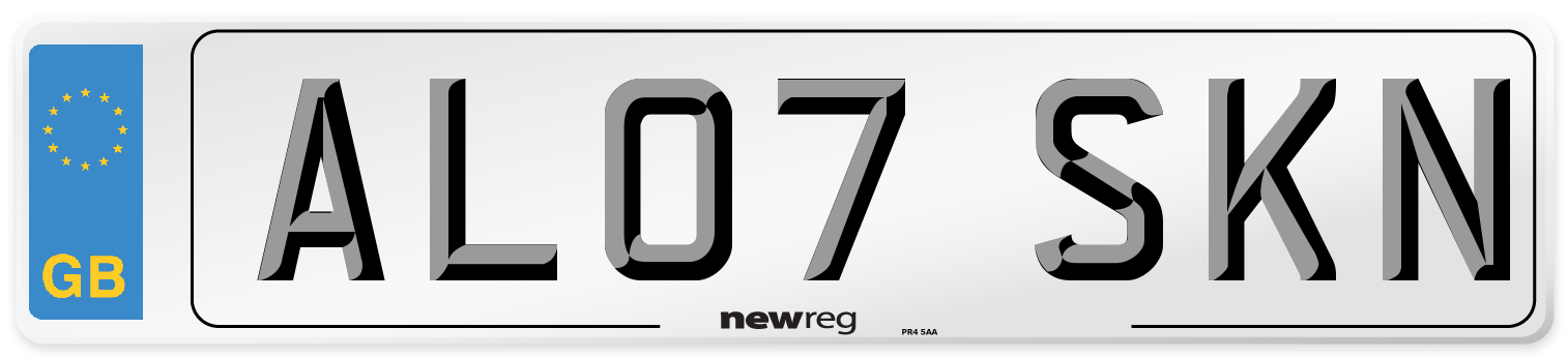 AL07 SKN Number Plate from New Reg