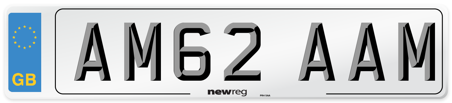 AM62 AAM Number Plate from New Reg