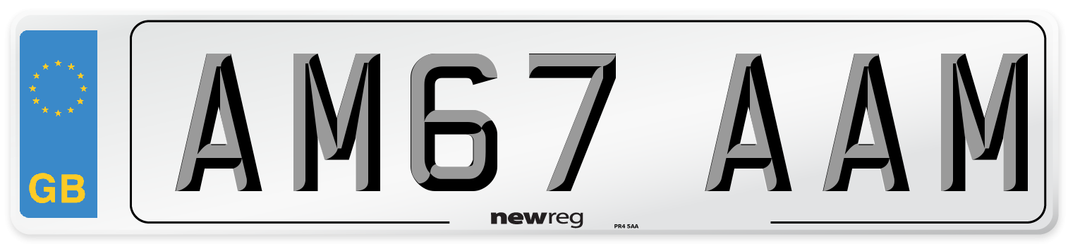 AM67 AAM Number Plate from New Reg