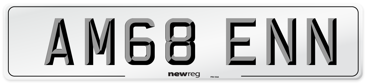 AM68 ENN Number Plate from New Reg