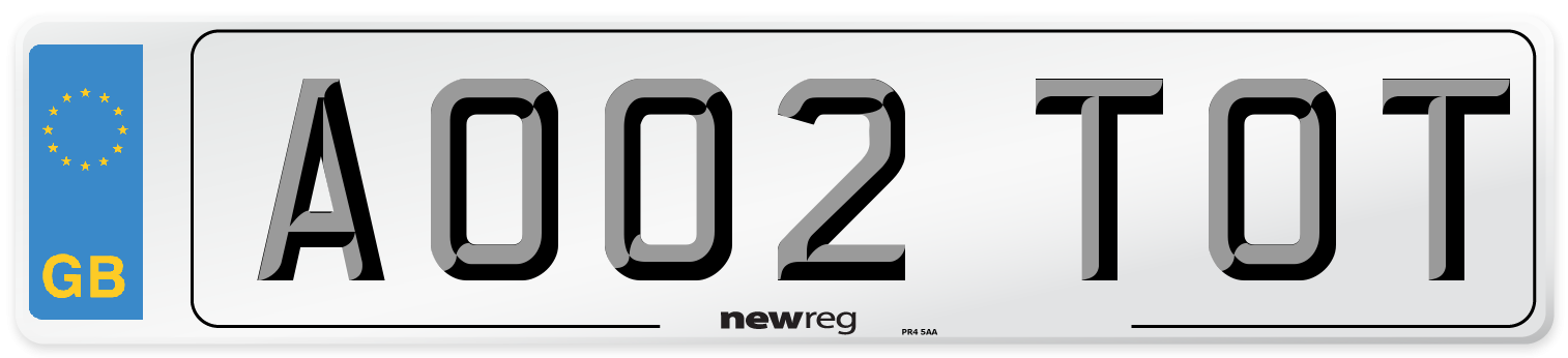 AO02 TOT Number Plate from New Reg