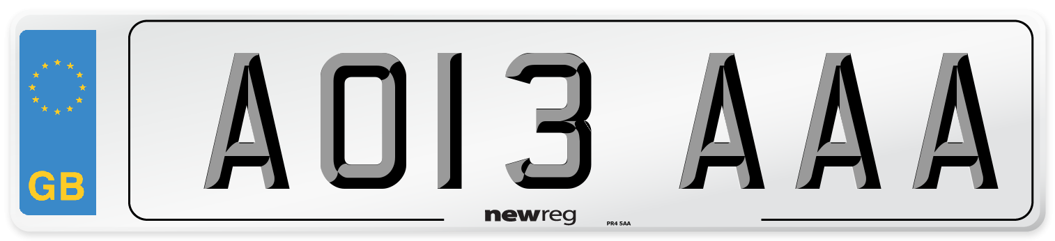 AO13 AAA Number Plate from New Reg