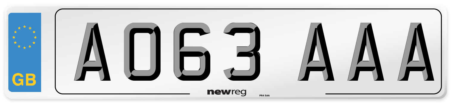 AO63 AAA Number Plate from New Reg