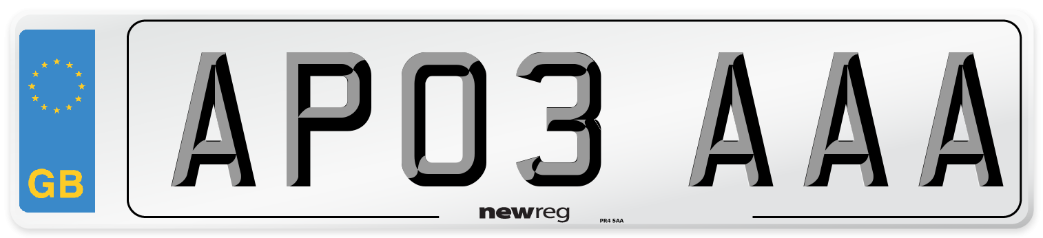AP03 AAA Number Plate from New Reg