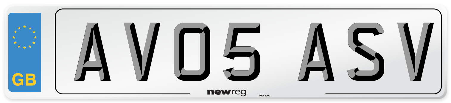 AV05 ASV Number Plate from New Reg