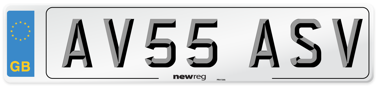 AV55 ASV Number Plate from New Reg