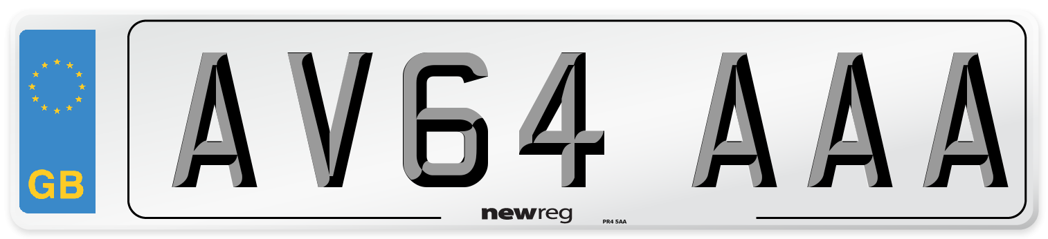 AV64 AAA Number Plate from New Reg